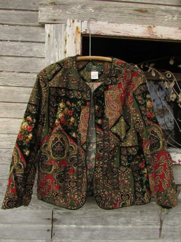 Vintage Orvis Made in USA corduroy paisley floral jacket red green sz 6
