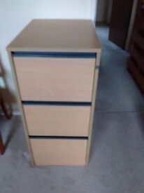 Wooden 3 Drawer Filing Cabinet