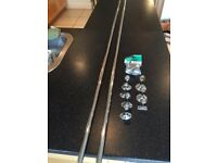 Rothley Colorail 2 x 19mm - 6 foot chrome silver hanging rails with wall Brackets