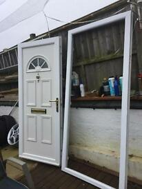 Double glazing door with frame