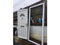 Double glazing door with frame