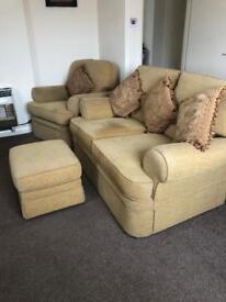 Settee, chair & footstool