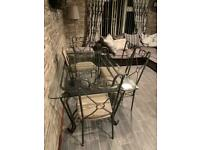 Glass top dining table & 6 chairs ono