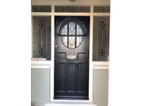 Reclaimed 1930s Front Door and Stained glass surround Windows