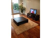Combo deal - Rug, coffee table, Samsung TV, TV stand, bookcase, and floor standing lamp
