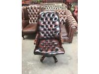 Fantastic vintage oxblood leather chesterfield captains chair UK delivery