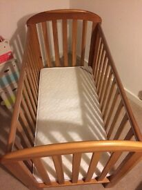 Wooden Cot with mattress £55