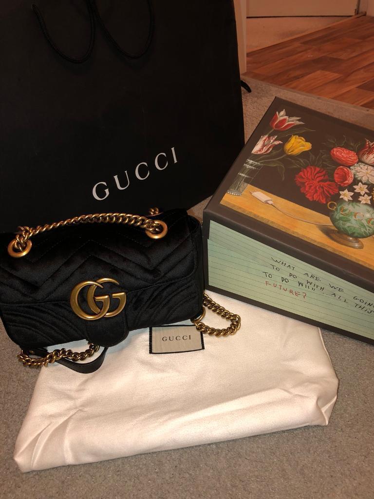Gucci Marmont velvet black small handbag women s  2197be5835