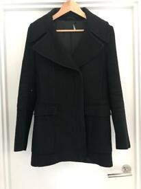 Gucci single breasted black wool coat - uk size 10