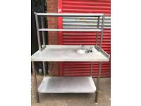 Stainless Steel Preparation Table with Sink and Shelves