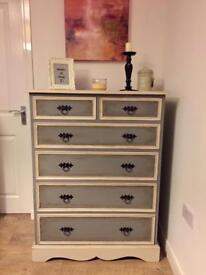 Elegant solid wood fully refurbished tallboy chest of drawers in chalk anthracite and cream finish