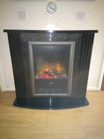 Black fire surround and yellow
