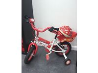 Minnie Mouse bike with back basket and helmet and bell