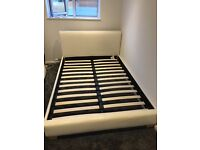 Cream faux leather double bed frame