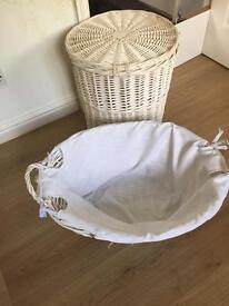 Wicker laundry basket and bin