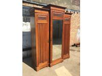 Large Antique Victorian Mahogany Break Front Triple Wardrobe With Fabric Lining