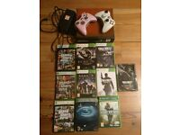 Xbox 360 / 250 gb 2 controllers / 10 games