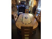 Really nice large marble inlaid dining table with six chairs in excellent condition