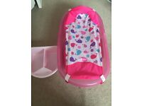 Pink baby bath with newborn sling and top and tail bowl
