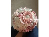 Bridal brooch bouquet. Pink and white.