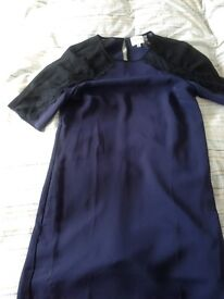 Reiss Tunic Dress, size 6. Navy with black lace detail sleeves