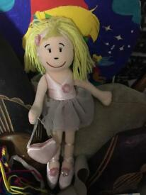 Child Cloth Doll, Blond, Ballerina Clothes and Little Heart Shoulder Bag