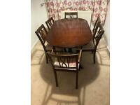 Mahogany extending table and 6 chairs