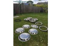 "2 SETS OF 22.5"" STAINLESS STEEL FULL SETS OF LORRY HUBCAPS PLUS A COUPLE OF EXTRAS"