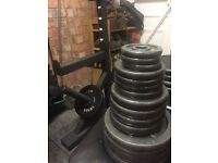 """Standard 1"""" York Barbell with aprox 180kg plates"""