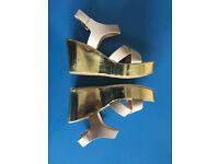 Gold wedge Sandals Women / Size 5 (eur 38)