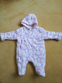 Baby girl pramsuit, up to 3 months
