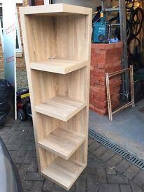 Natural light oak corner shelves