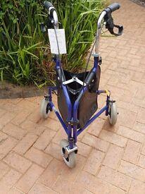 Three wheeled mobility folding walker