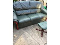 Green leather high quality as new sofa and footstool