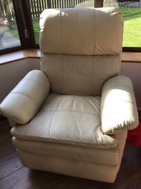 2-off Cream Leather Recliner Single Chairs