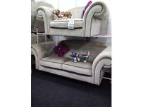 Newe sofology grey velvet chesterfield sofa set stunning quality