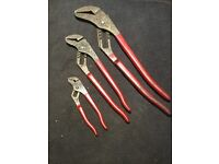 """Snap on Bluepoint slip joint pliers x3 6"""" 12"""" 16"""""""