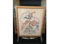 Vintage embroidered firescreen