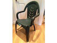 8 x green plastic garden chairs, used a few times and in very good condition