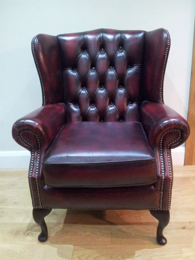 Brand New Leather Armchair High Wing Back Queen Anne