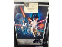 Signed Star Wars framed movie poster