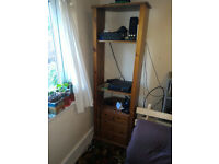 Tall Pine Unit. Piece of furniture comprising 3 shelves and 3 drawers. £40 pound. No delivery