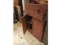 LARGE CUPBOARD linen press PAINTED SOLID WOOD 2 DRAWERS STORAGE