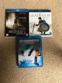 Blue-ray DVD's x3