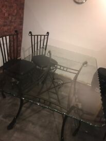 Rare Glass Dining Table with 6 Chairs