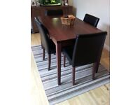 Walnut Effect 4 Seat Dining Table & Chair Set - Chocolate