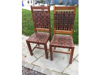 Fantastic wood and leather bound chairs (2)