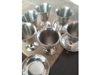 6 stainless steel goblets with bases. 3.5inches tall