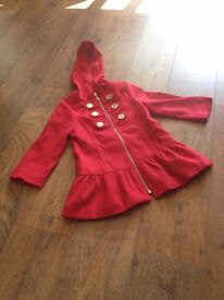 Girls red coat - age 6 years
