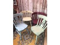 Four hand painted chairs